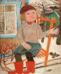 Olle Olsson-Hagalund Artwork  -  'Fun on a Sleigh'