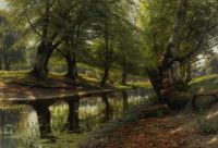 "Peder Mørk Mønsted, ""A Stream and a Deer"""