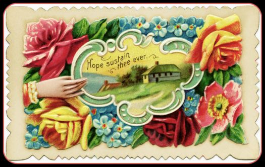 "Antique Calling Card ""Hope Sustain Thee."""
