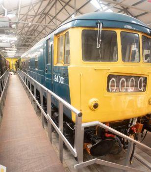 Bo'ness & Kinneil Railway 09-07-2019 84001 BR Class 84 Electric Locomotive North British  - GEC 1960 vertical panorama 01