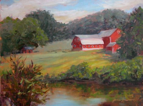 Red Barns by the Creek