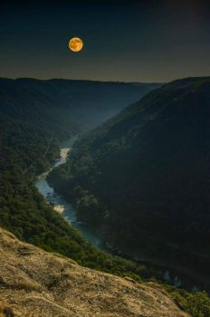 Moon over the Gorge River