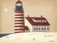 West Quoddy Lighthouse in snow