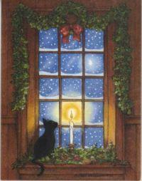 Black Cat by a Snowy Window