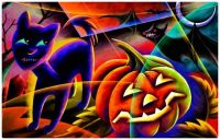 Abstract Halloween Cat with his Friendly Pumpkin