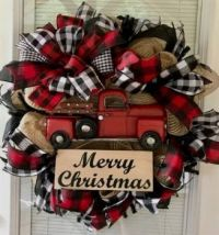 Red Truck with buffalo plaid ribbon Wreath
