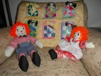 Raggedy Ann and Andy waiting for playmates.