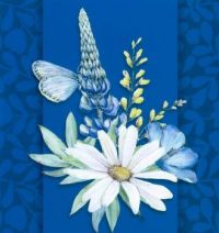 Blue Flowery Greeting Card