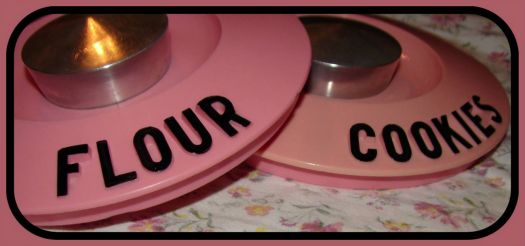 Pinknblack from the Past, a pair o Kromex canister lids