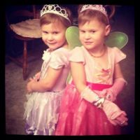 My granddaughters dressed up as princesses.