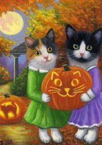 Folk Art Halloween Cats
