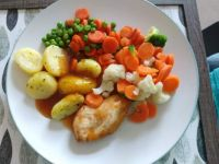 Chicken & vegetable ready meal (TV dinner)