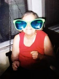Mom's  big glasses