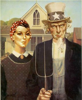 American Gothic  ~  Rosie the Riveter & Uncle Sam