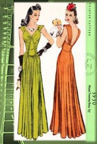 Vintage 1940's Film Noir Style Dress