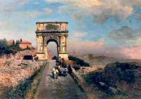 Passing through the Arch of Titus on the Via Sacra, Rome by Oswald Achenbach