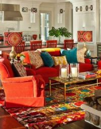 Boho with Red/Orange Sofa
