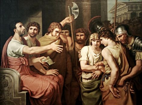 Johann Heinrich Tischbein (German, 1751–1829), Brutus Discovers His Sons' Names on the List of Conspirators (1800)