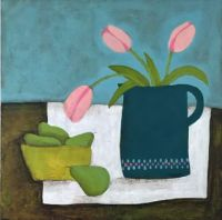 Pink tulips and pears