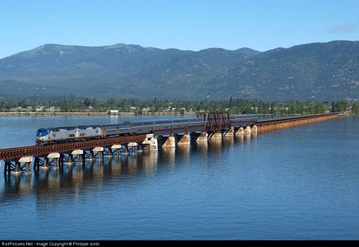 Amtrak crossing  Lake Pend Oreille Bridge