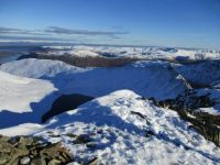 View down to Ullswater from Helvellyn summit. Lake District, UK