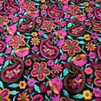 Chanderi Embroidered Paisley Flower Fabric