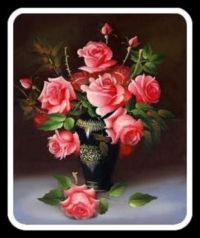 Pinknblack Vase and Roses