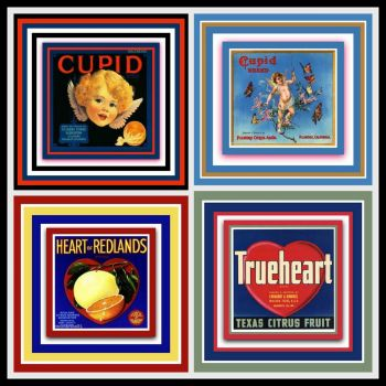 Vintage Fruit Crate Labels Depicting Love, Hearts and Cupid