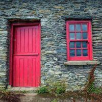 Irish Cottage with Red door and window