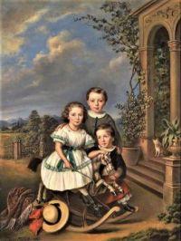 Portrait of three children in front of a garden pavilion