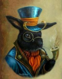 ACEO Bunny Rabbit Portrait -  Carol Phillips, Artist