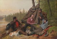 Arthur Fitzwilliam Tait ( British/American, 1819–1905), In the Woods: Taking it Easy (1862)