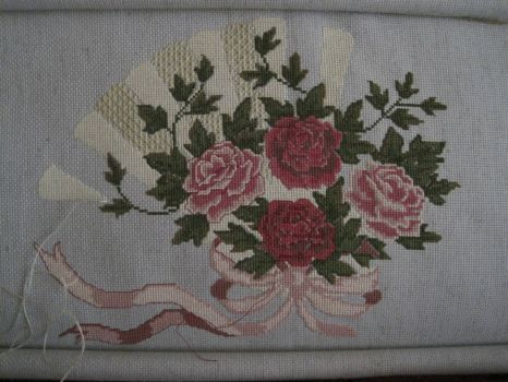 Cross stitch roses and fan.