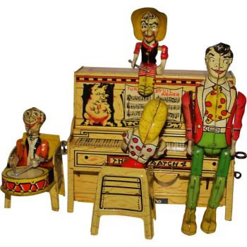 Doll Lil Abner & His Dog Patch Band - 1945 Litho Windup Toy