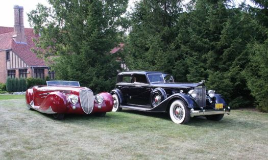 a 1939 Delahaye (left) and a 1934 Packard