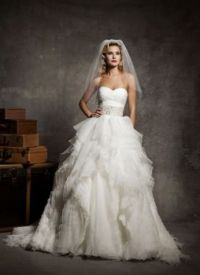wedding gown and veil