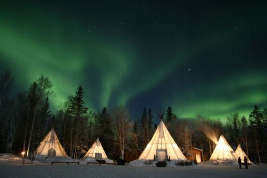 Northern lights & tepees--Yellowknife, Canada