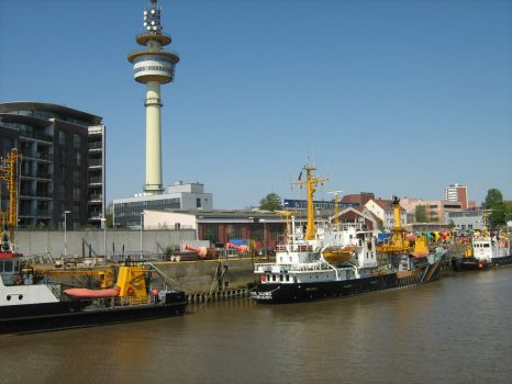sharp picture of Bremerhaven harbour with fishing boats