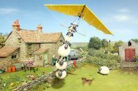Shaun the sheep in his flying machine
