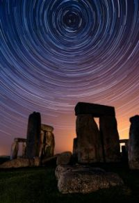 A slow shutter photograph taken by David Sharp of the Milky Way above Stonehenge