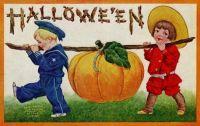 Vintage Halloween -  Children and pumpkin - 1908 post card