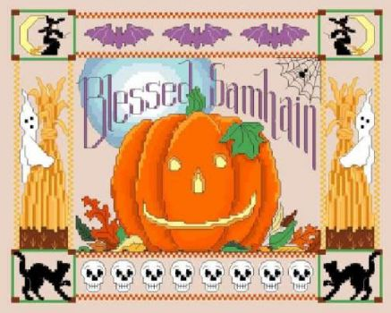 Blessed Samhain cross stitch