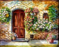 Pretty wooden door! Pretty flowers...