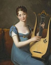 French School, XIX century, A young lady with a lyre