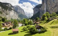 Lauterbrunnen and Staubbach Falls, Switzerland