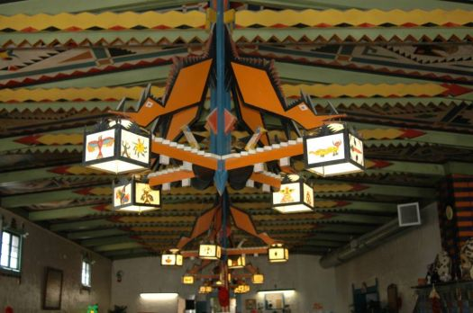 Shaffer Hotel Restaurant's painted ceiling in Mountainair, NM