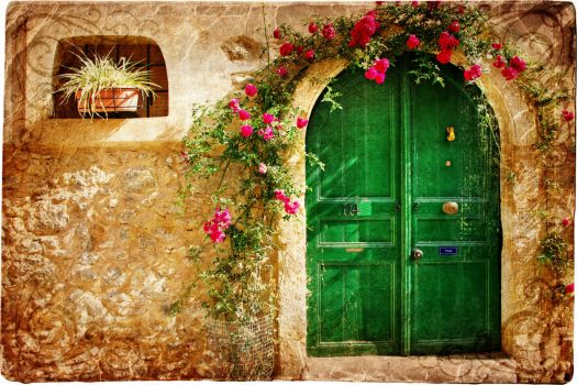 vintage-loveliness-old-city-stone-house-door-pattern-crimson-flowers
