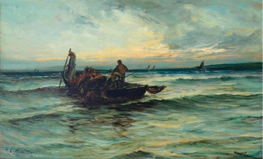 Colin Hunter (Scottish, 1841–1904), Hauling in the Nets at Sunset