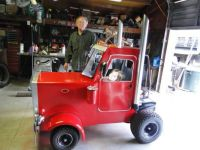 Bored hubby turned go- cart into mini truck