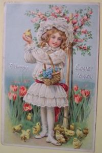 Vintage easter postcard - girl and chickens